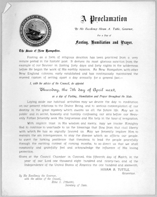 A proclamation By His Excellency Hiram A. Tuttle, Governor for a day of fasting, humiliation and prayer .... do appoint Thursday, the 7th day of April next, as a day of fasting, humiliation and prayer throughout the State ... Given at the Counci