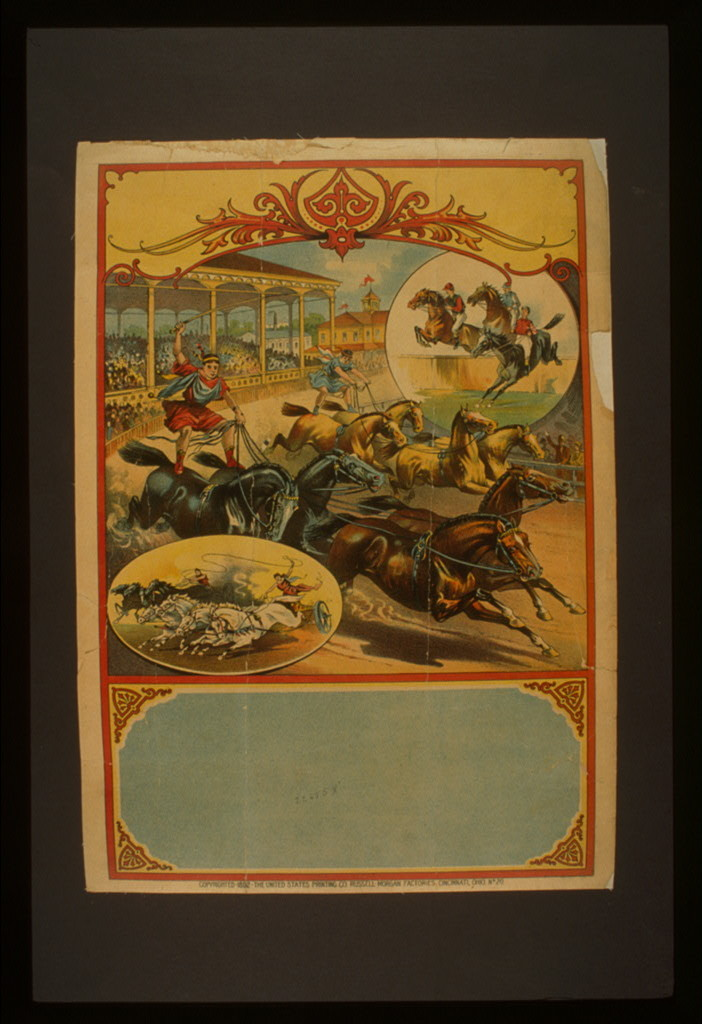 [Advertising poster showing two men in classical dress riding four-horse teams during race while spectators in grandstand watch; two vignettes show chariot racing and horse jumping]