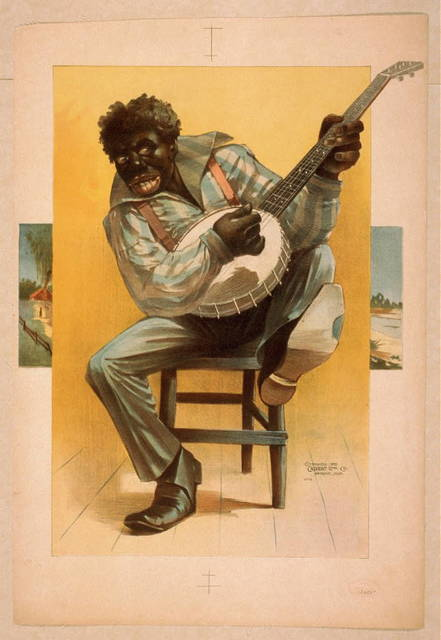 [African American, seated, playing banjo]