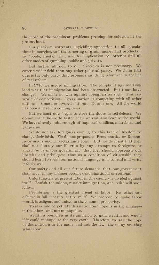 Biographical sketches of General John Bidwell, prohibition nominee for president, and Dr. James B. Cranfill, prohibition nominee for vice-president; with nominating speeches, national platform, and Bidwell's letter of acceptance