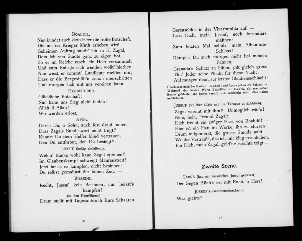 Boabdil, der letzte Maurenkönig. Libretto. German