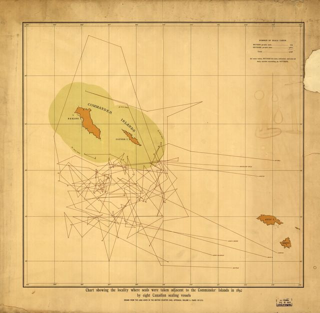 Chart showing the locality where seals were taken adjacent to the Commander Islands in 1892 by eight Canadian sealing vessels.