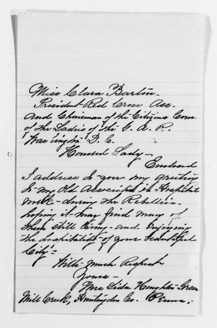 Clara Barton Papers: Red Cross File, 1863-1957; American National Red Cross, 1878-1957; Receptions; Organizations of Patriotic Women, 1892