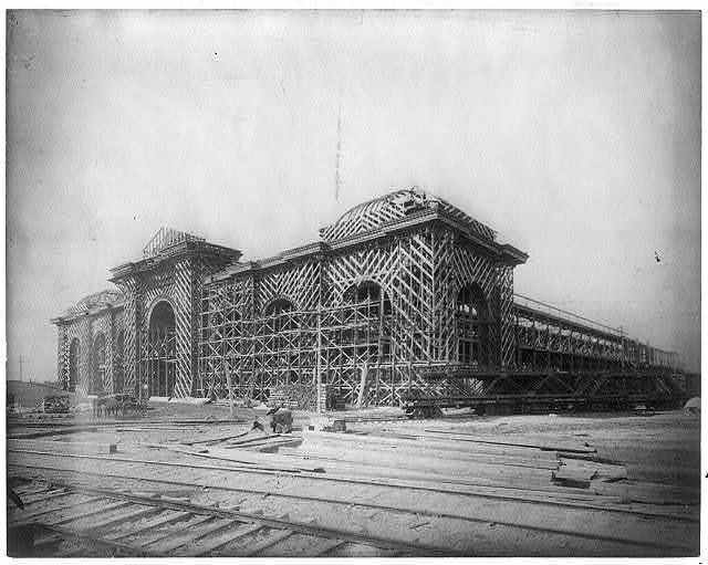 [Constructing frame for Mines Building, World's Fair, Chicago]