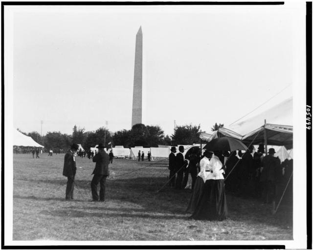 [Encampment of the G.A.R. in Washington, D.C. with Washington Monument in background]