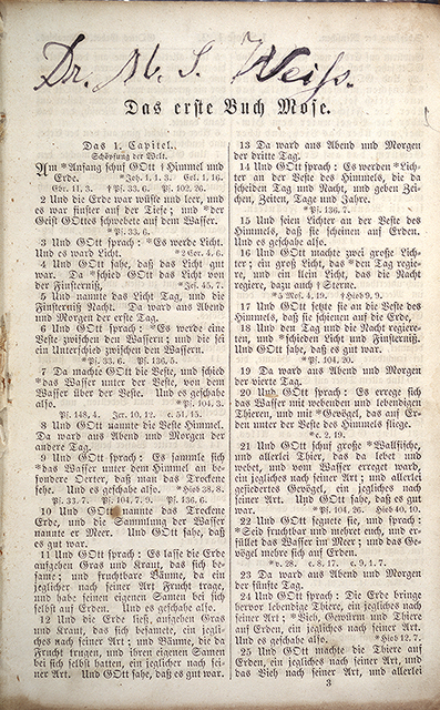 [Fly-leaf and first page of the Bible of Rabbi Samuel Weiss]