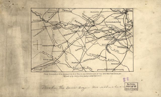 From Dinwiddie C.H. to Appomattox C.H., route and operations of the 10th New York Cavalry.