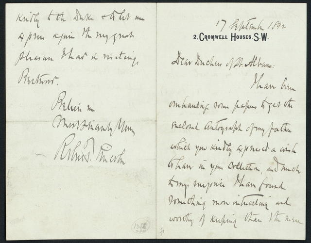 From Robert Todd Lincoln to Duchess of St. Albans.