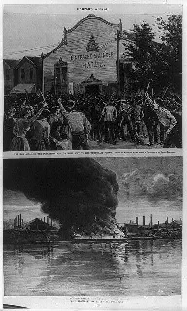 Homestead Steel Strike - 2 images: 1. The Mob Assailing the Pinkerton Men on Their Way ot the Temporary Prison (drawn by Charles Mente); 2. The Burning Barges