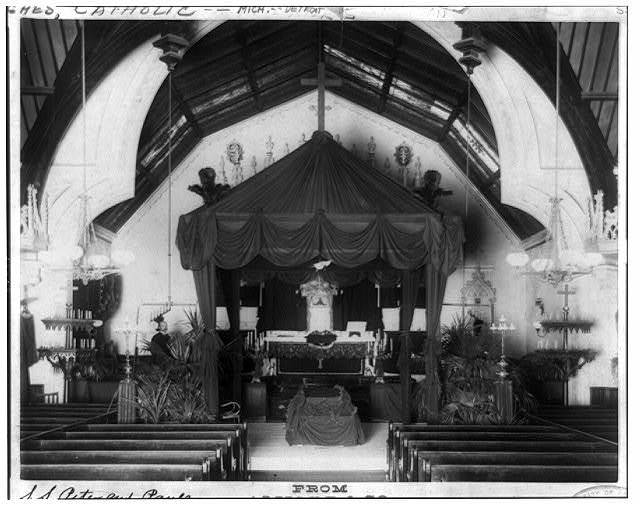 Interior of S.S. Peter and Paul Cathedral, Detroit, Mich., showing catafalque where the remains of Father Henneart laid in state