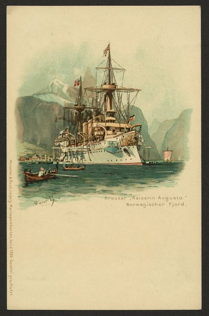 "Kreuzer ""Kaiserin Augusta"" Norwegischer Fjord"
