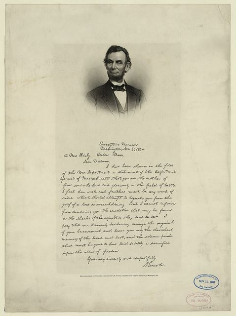 [Letter from Abraham Lincoln to Mrs. Bixby, with bust-length portrait of Lincoln] / engd. by J. C. Buttre, photo by M.B. Brady.