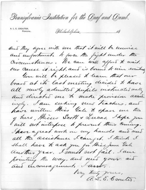 Letter from Albert L. E. Crouter to Alexander Graham Bell, April 10, 1892