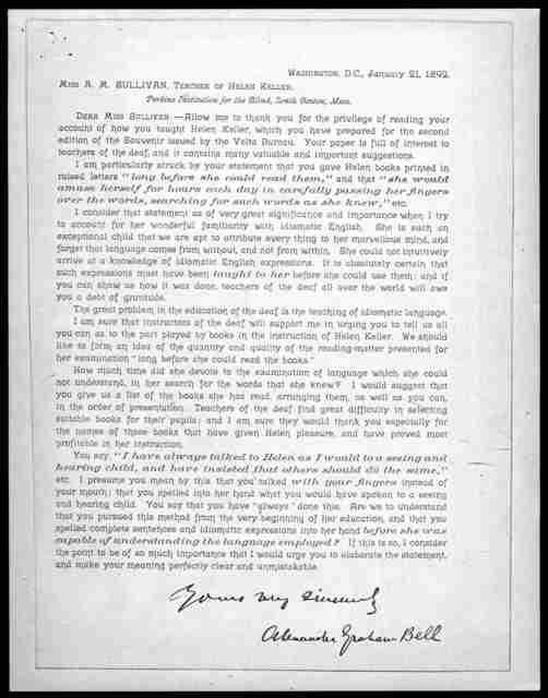 Letter from Alexander Graham Bell to Annie Sullivan, January 21, 1892
