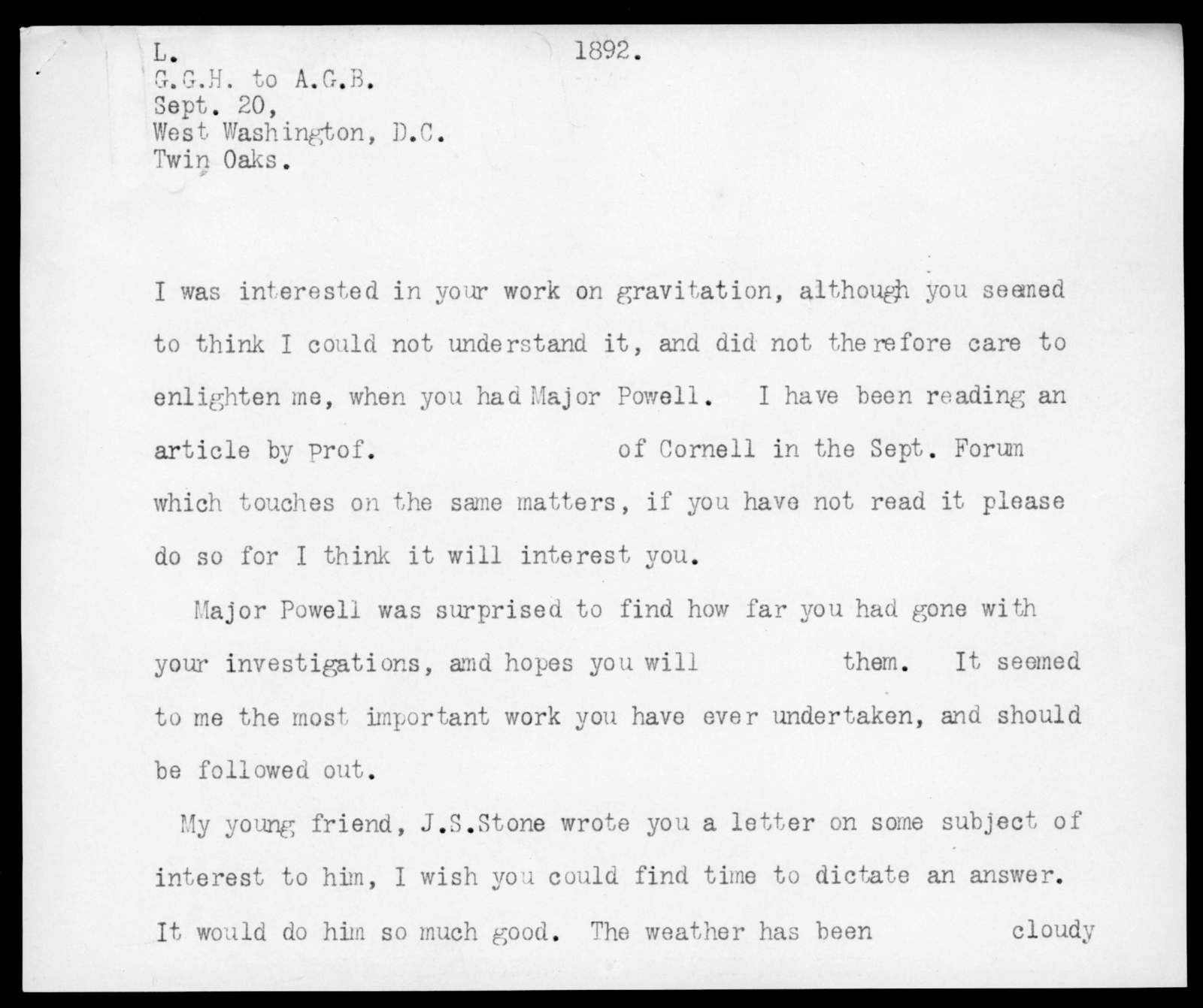 Letter from Gardiner Greene Hubbard to Alexander Graham Bell, September 20, 1892