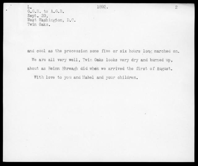 Letter from Gardiner Greene Hubbard to Alexander Graham Bell, September 20, 1892