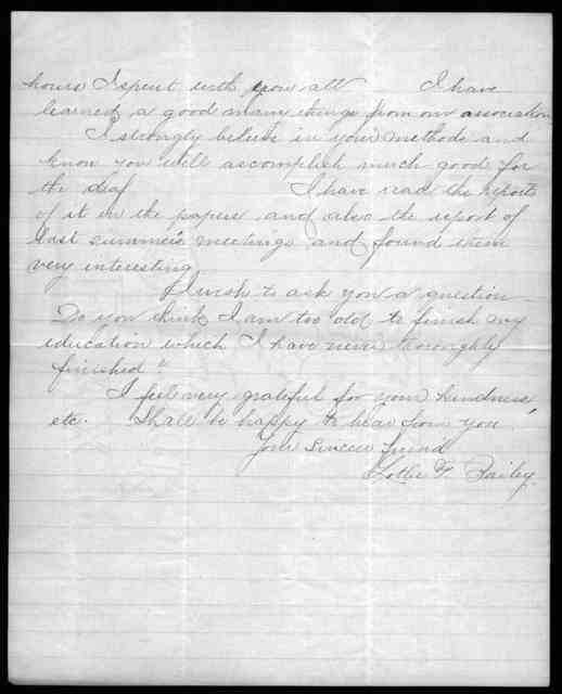Letter from Lottie F. Bailey to Alexander Graham Bell, August 1, 1892