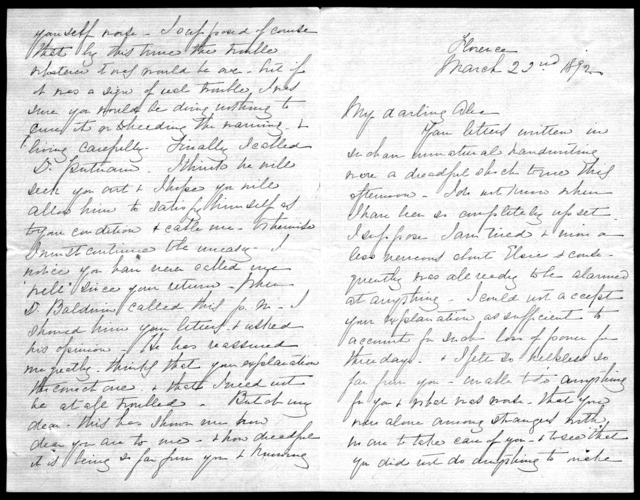 Letter from Mabel Hubbard Bell to Alexander Graham Bell, March 22, 1892