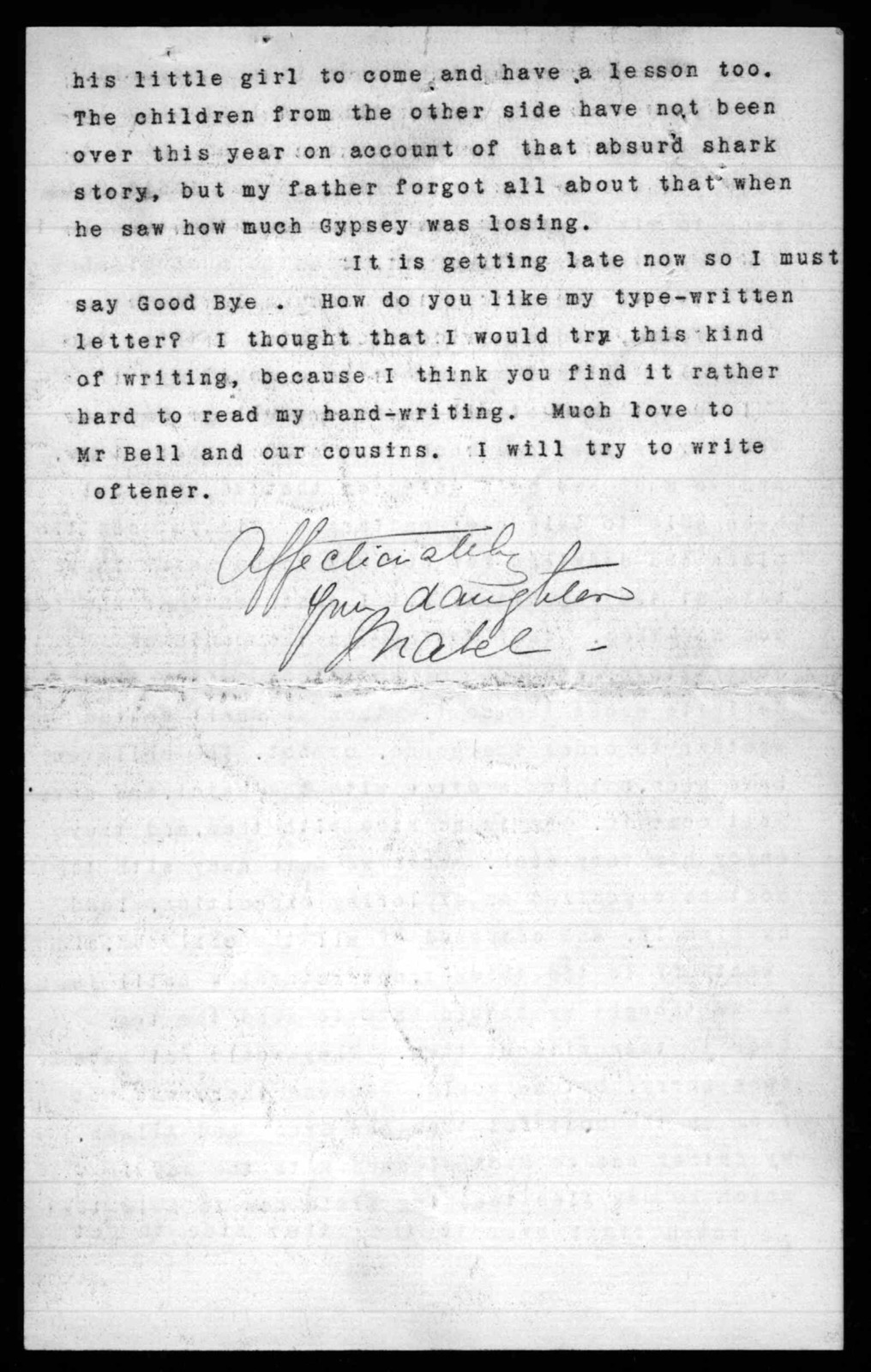 Letter from Mabel Hubbard Bell to Eliza Symonds Bell, August 30, 1892
