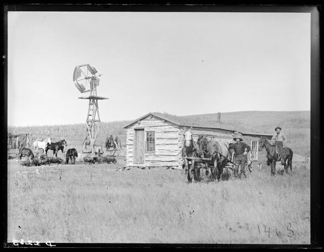 Log house with a sod addition, Custer County, Nebraska.