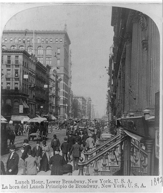Lunch hour, lower Broadway, New York City, U.S.A.