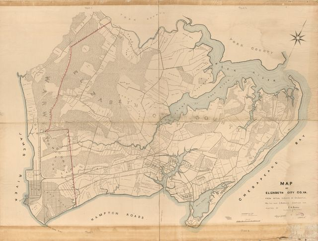 Map of Elizabeth City CO, VA. : from actual surveys by E.A. Semple, Wm. Ivy and C. Hubbard /