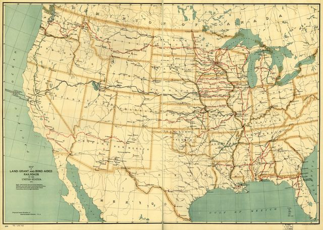 Map of land-grant and bond-aided railroads of the United States.