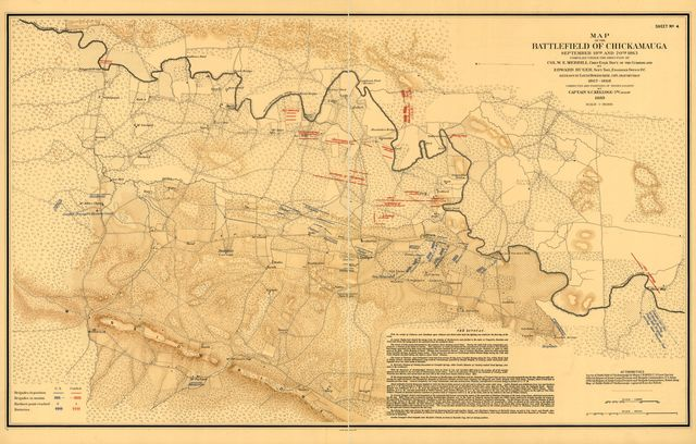 Map of the battlefield of Chickamauga, September 19th and 20th 1863.