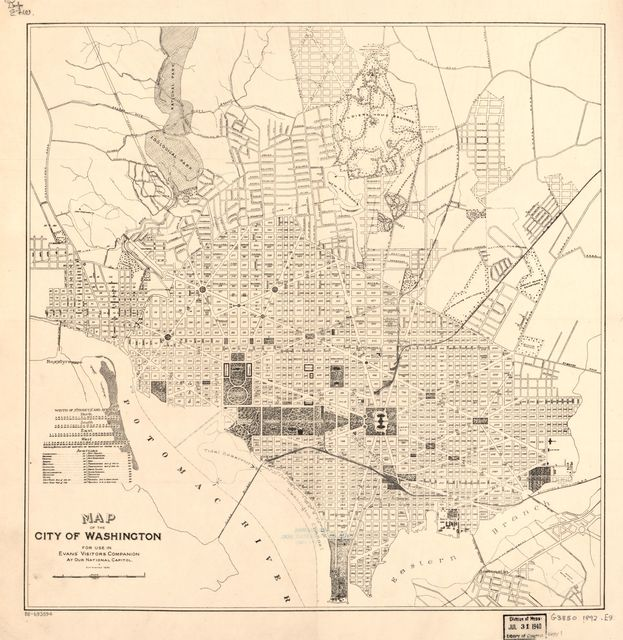 Map of the city of Washington : for use in Evans' visitors companion at our National Capitol.