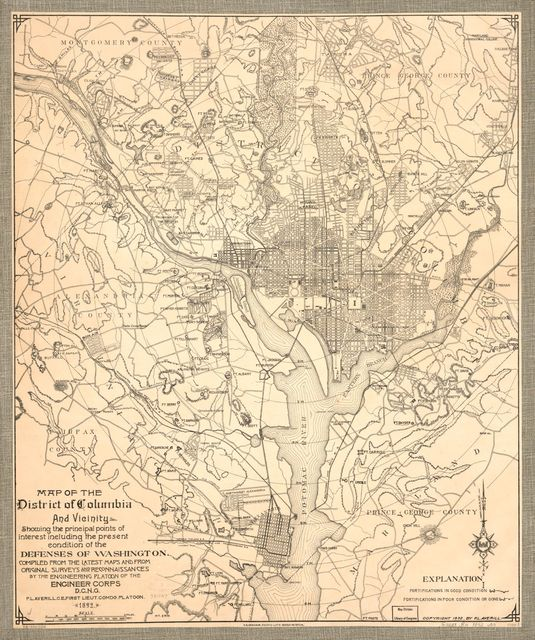 Map of the District of Columbia and vicinity showing the principal points of interest including the present condition of the defenses of Washington /