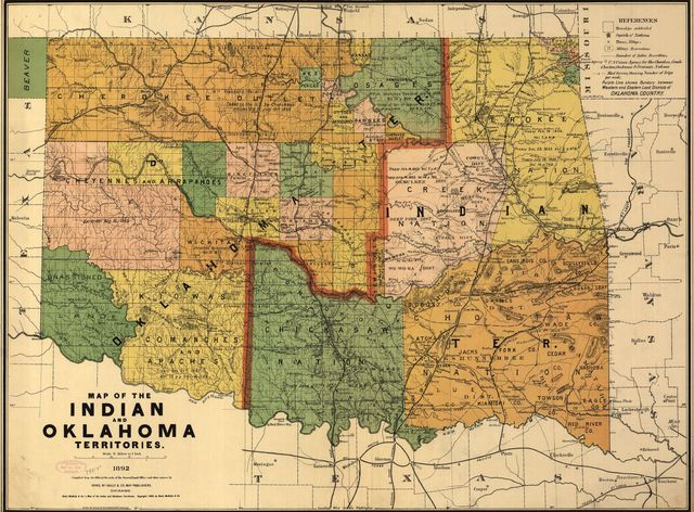 Map of the Indian and Oklahoma territories.