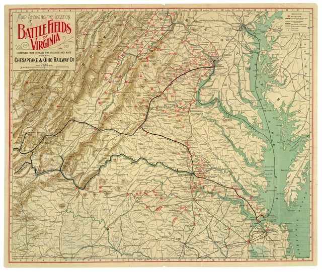 Map showing the location of battle fields of Virginia /