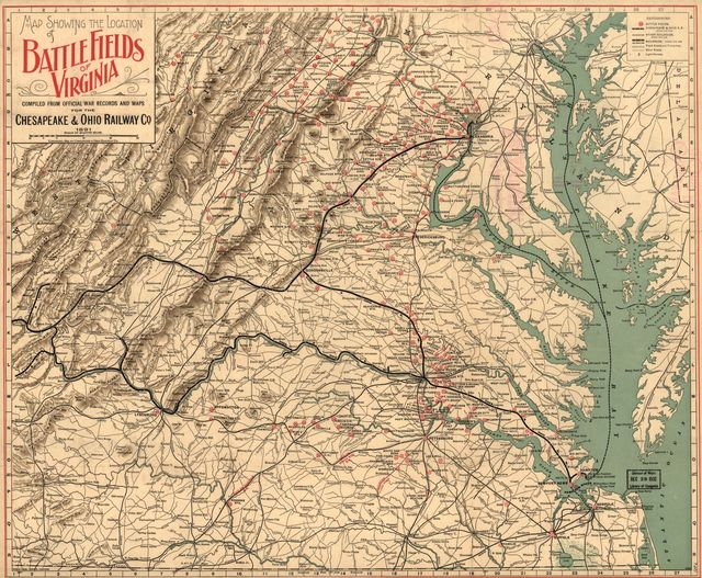 Map showing the location of battle fields of Virginia
