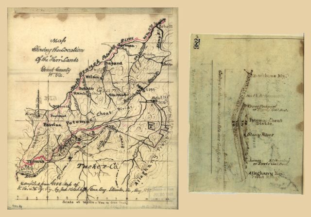 "Map showing the location of the ""Herr"" lands, Grant County, W. Va. /"