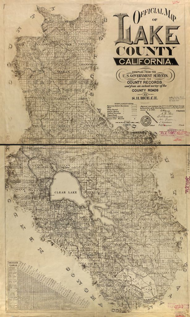 Official map of Lake County, California. : Compiled from the U.S. government surveys, from the county records, and from an actual survey of the county roads /