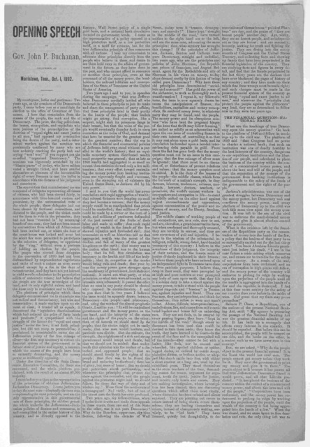 Opening speech of Gov. John P. Buchanan, delivered at Marristown, Tenn., Oct. 1, 1892.
