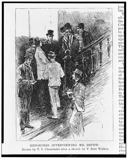 Reporters interviewing Mr. Depew / Drawn by T.V. Chominski after a sketch by T. Dart Walker.