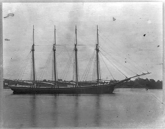 """Schooner """"Edwin R. Hunt"""" launched Sept. 21, 1892, builder G. G. Deering, Bath, Maine."""
