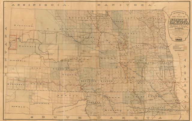 Sectional map of the state of North Dakota published by authority of the commissioners of railroads under the direction of the governor; drawn and compiled from official maps of the General Land Office and other authentic sources.