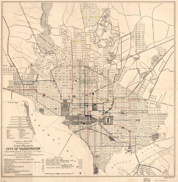 Statistical map no. 10 showing the location of street railways, city of Washington /