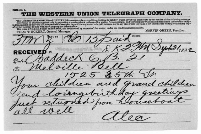 Telegram from alexander graham bell to alexander melville bell telegram from alexander graham bell to alexander melville bell september 21 1892 library m4hsunfo