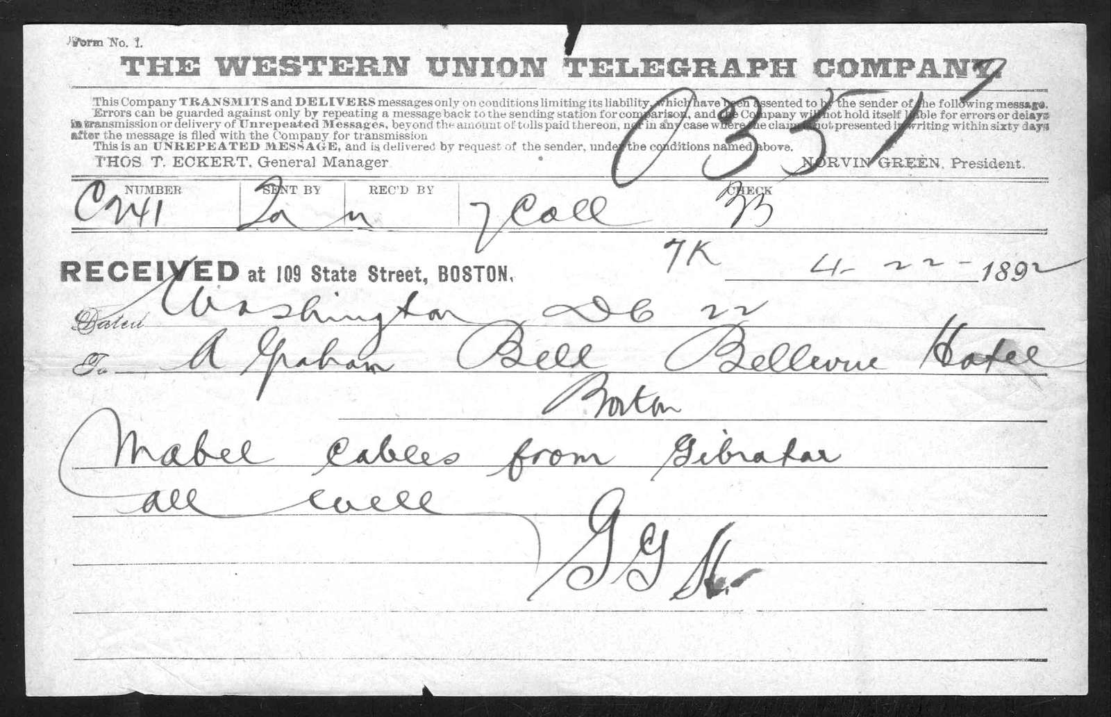Telegram from Gardiner Greene Hubbard to Alexander Graham Bell, April 22, 1892