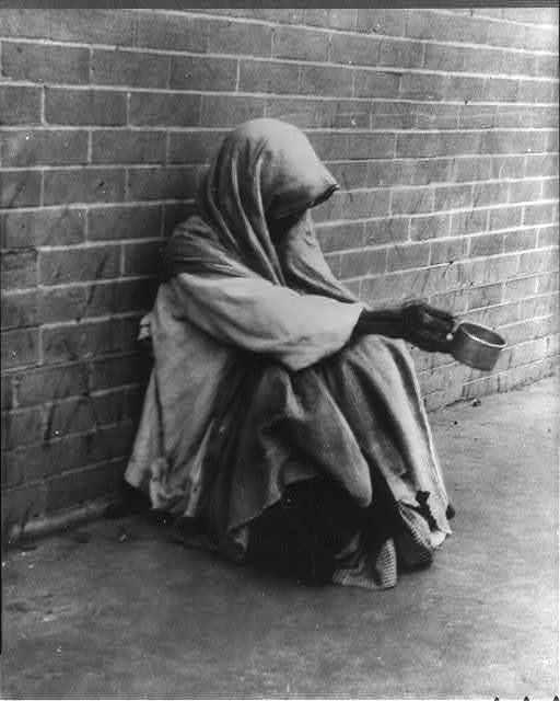 Texas. San Antonio. Woman begging