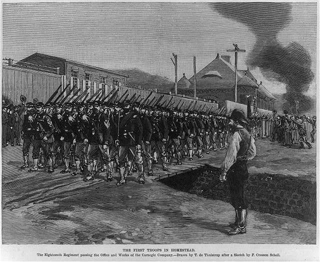 The First Troops in Homestead. The Eighteenth Regiment passing the Office and Works of the Carnegie Company, July 12, 1892
