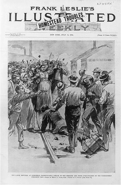 The labor troubles at Homestead, Pa. - Attack of the strikers and their sympathizers on the surrendered Pinkerton men / drawn by Miss G.A. Davis, from a sketch by C. Upham.