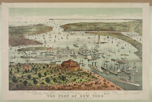 The Port of New York--Birds eye view from the Battery, looking south