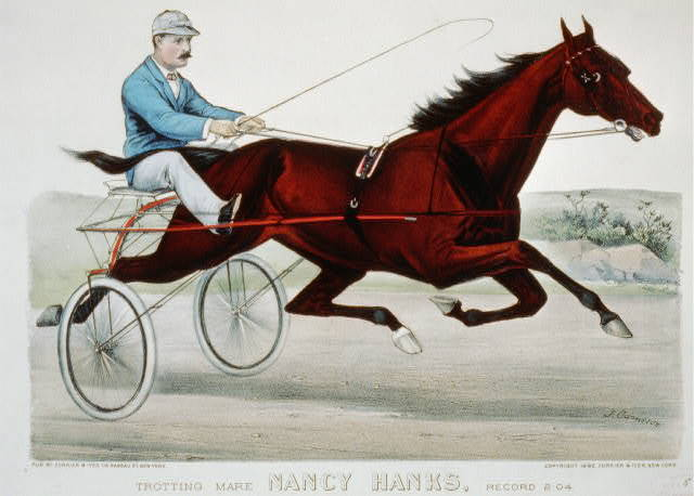 Trotting mare Nancy Hanks, record 2:04: driven by Budd Doble to a bicycle sulky built by the Chas. S. Caffrey Co. Camden, N.J.