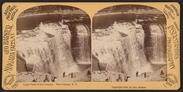 Upper Falls of the Genesee, near Portage, N.Y. / Geo. Barker.