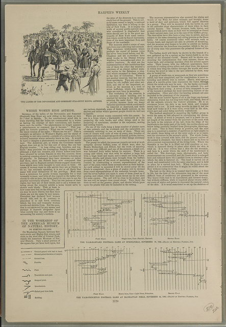 [Women riding horses and diagrams of football games]