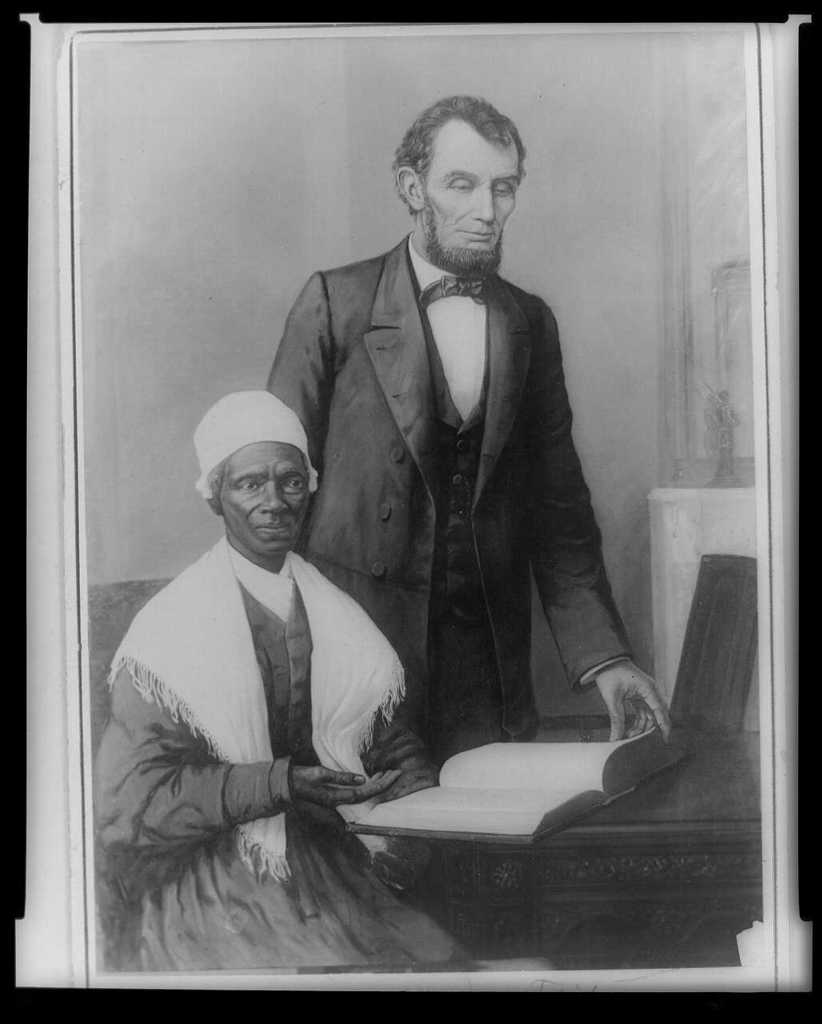 A. Lincoln showing Sojourner Truth the Bible presented by colored people of Baltimore, Executive Mansion, Washington, D.C., Oct. 29, 1864